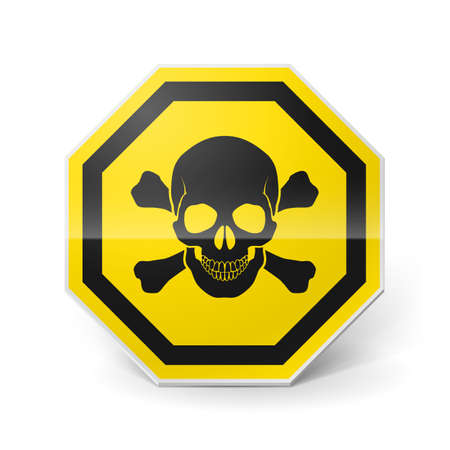 mortal danger: Shiny metal warning sign with skull and crossbones on white background