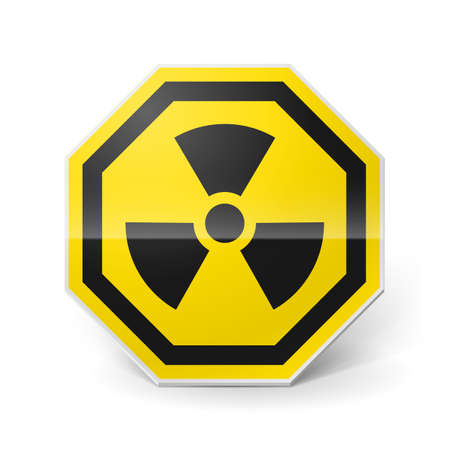 Shiny metal warning sign of radiation on white background Stock Vector - 28157438