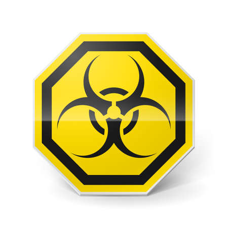 Shiny metal biohazard sign in black and yellow colors on white background Stock Vector - 28157439
