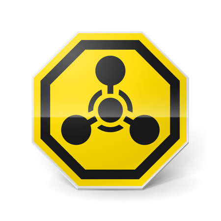 infection prevention: Shiny metal warning sign of chemical weapon on white background