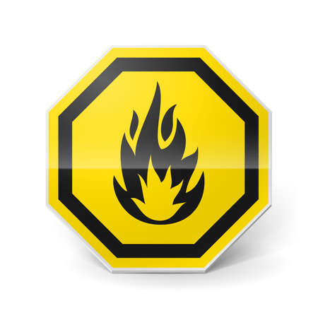 flammable warning: Shiny metal warning sign of highly flammable on white background
