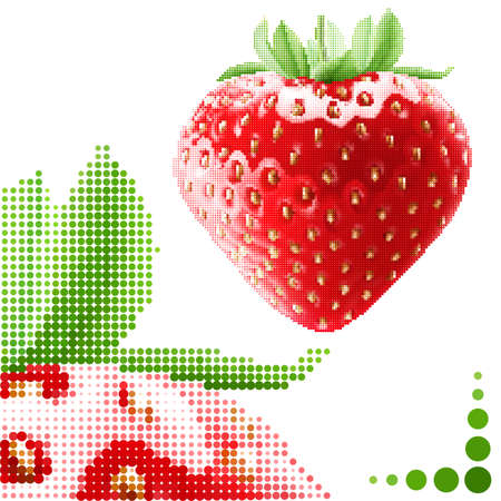 Halftone strawberry background. Fresh appetizing berries in embroidery style Vector