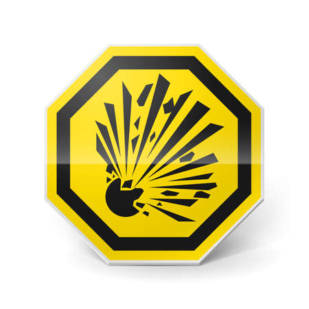 Shiny metal warning sign of explosion on white background Stock Vector - 28157746