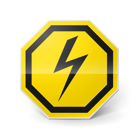 electricity danger of death: Shiny metal warning sign of high voltage on white background