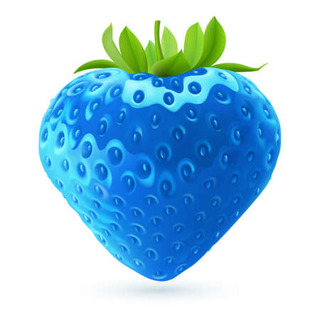 Realistic illustration of bright blue strawberry on white background