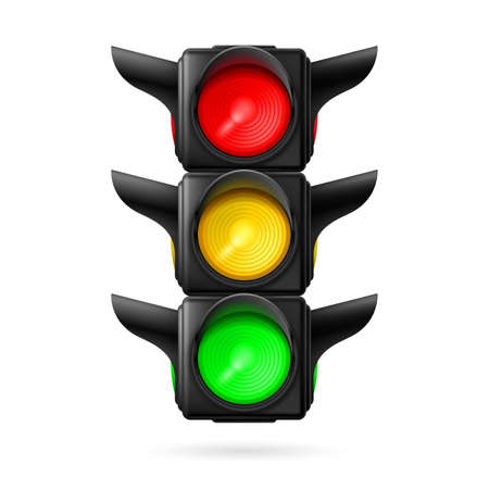 Realistic traffic lights with all three colors on. Illustration on white background