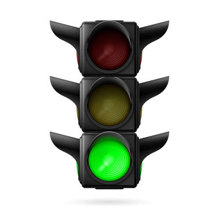 Realistic traffic lights with green lamp on. Illustration on white