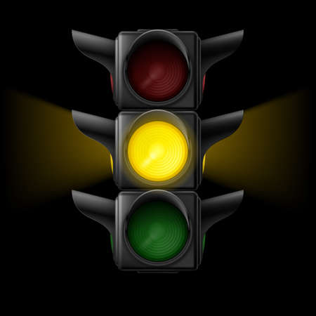 Realistic traffic lights with yellow lamp on. Wait signal. Illustration on black  Vector