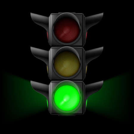 stop and go light: Realistic traffic lights with green lamp on. Illustration on black background