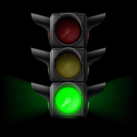 traffic regulation: Realistic traffic lights with green lamp on. Illustration on black background