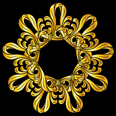 florid: Ornate florid pattern in gold shades on black background