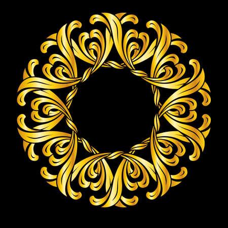curlicue: Ornate florid pattern in gold colors. Illustration on black background