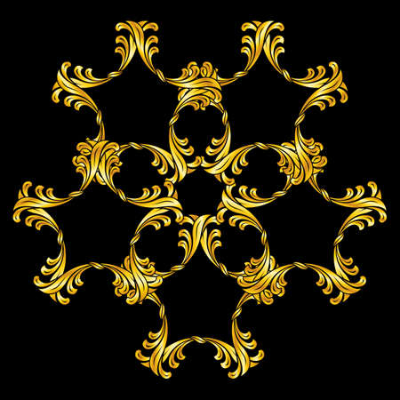 florid: Abstract florid pattern in golden colors over black