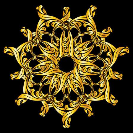 florid: Gold florid pattern. Illustration on black background