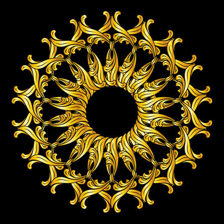 florid: Ornate florid pattern in golden colors on black background