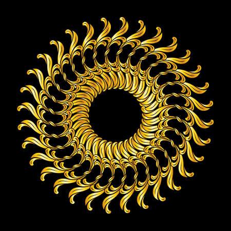 florid: Ornate florid pattern in golden shades on black background Illustration