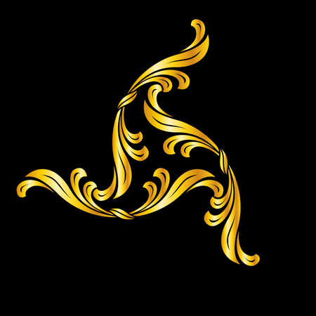 flowery: Abstract floral pattern in golden shades. Illustration on black background