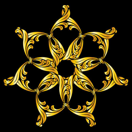 floral tracery: Ornate flower pattern in golden shades on black background