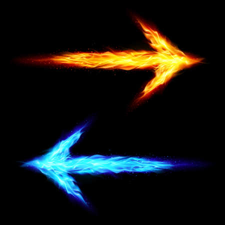 orange arrow: Blue and orange fire arrows pointing in opposite directions on black background
