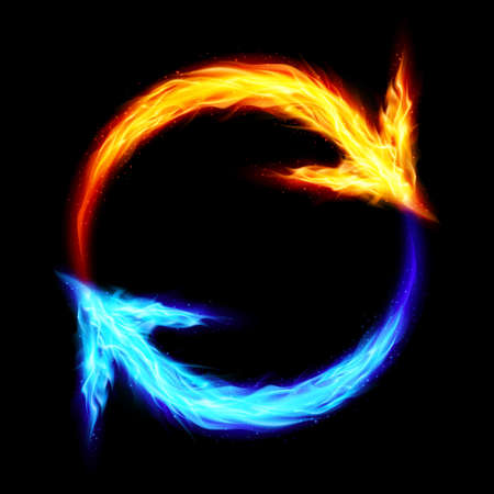 Orange and blue fire circular arrows on black background Vector