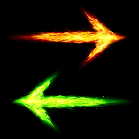 flamy: Orange and green fire arrows pointing in opposite directions on black background Illustration