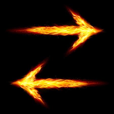 oppos: Deux fl�ches de feu pointant dans des directions oppos�es sur fond noir Illustration