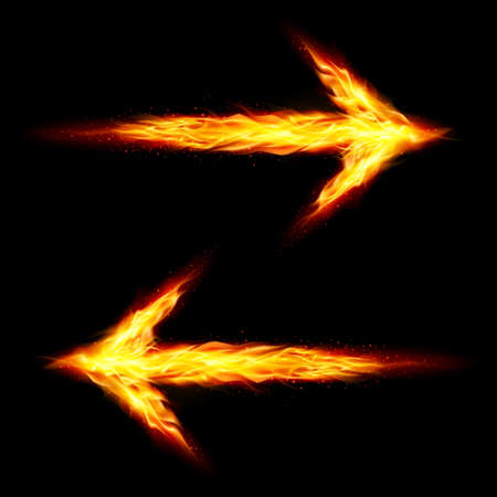 Two fire arrows pointing in opposite directions on black background Vector