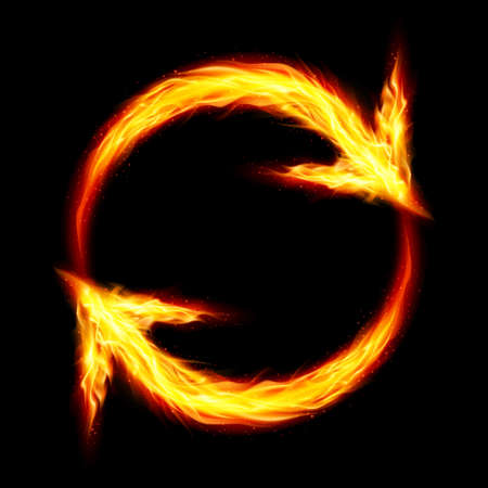 flamy: Two fire circular arrows on black background