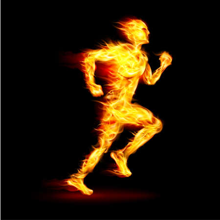 Fiery running man with motion effect on black background Vector