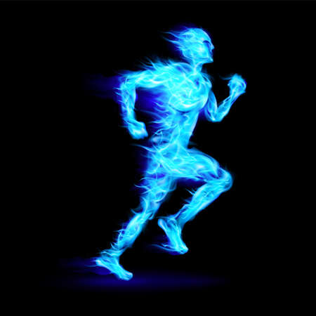 intense: Blue fiery running man with motion effect on black background