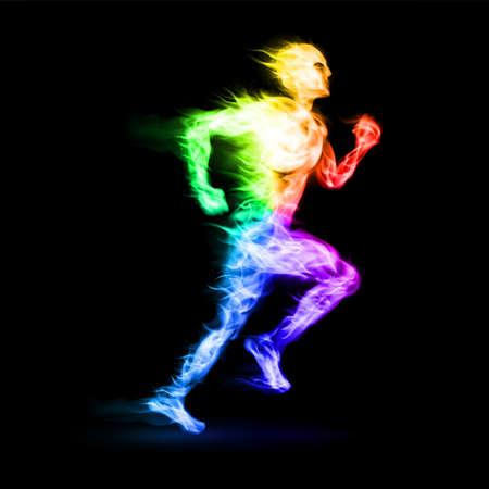 Hombre corriendo ardiente con efecto de movimiento sobre fondo negro Ilustración de vector