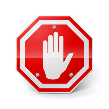 red metal: Shiny red metal stop sign with hand image over white Illustration