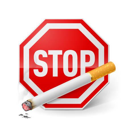Señal de stop rojo con el cigarrillo como recurso de dejar de fumar Vectores
