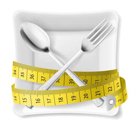 metro de medir: Plato cuadrado blanco con cuchara y tenedor cruzados y cinta métrica alrededor de