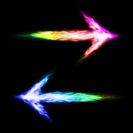 oppos: Deux fl�ches flamboyants color�es pointant dans des directions oppos�es