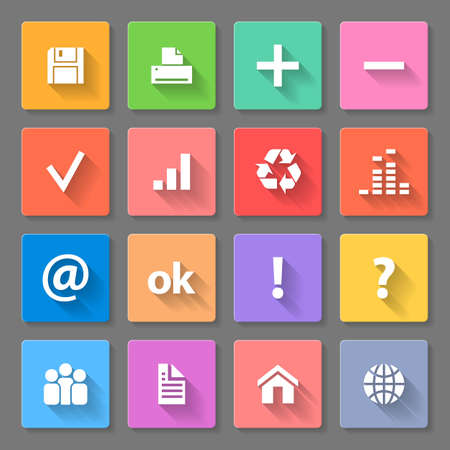 ok button: Set of colorful square flat icons with long shadows for web design and apps