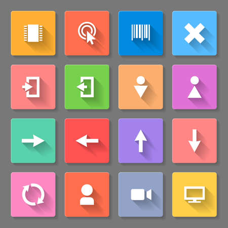 gender identity: Set of colorful flat icons with long shadows for web design and applications