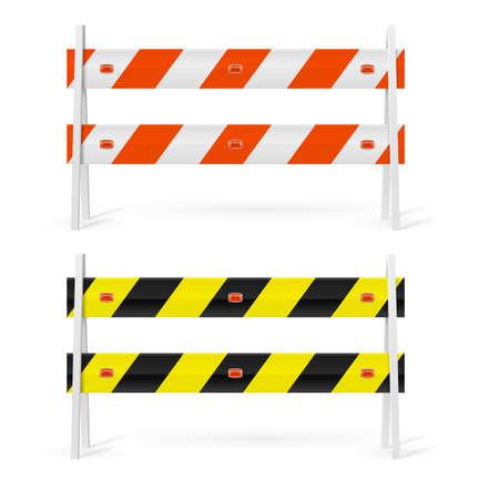 Naranja y blanco, negro y amarillo, barreras de carretera en el fondo blanco