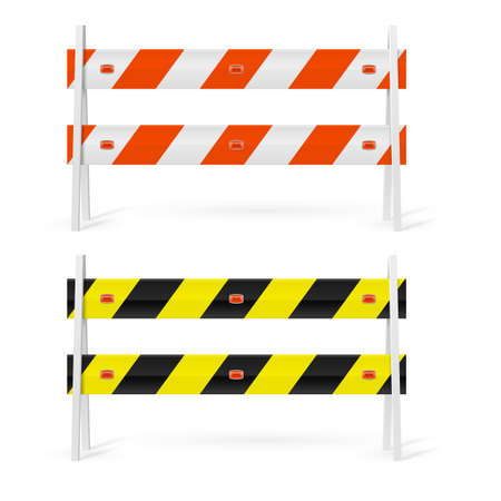 highway icon: Orange and white, black  and yellow road barriers on white background