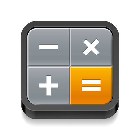 arithmetic: Calculator icon with four buttons on white background