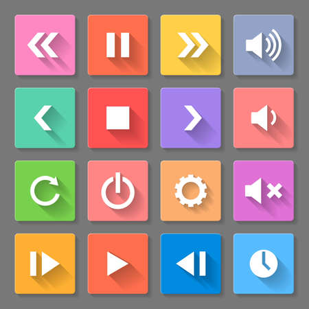 Set of flat media icons with long shadows for web design and apps Vector