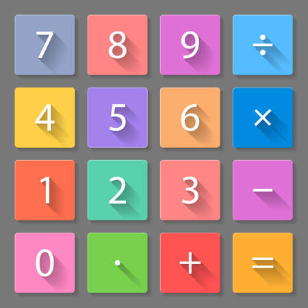 equal to: Set of flat colorful calculator icons with long shadows for web design and apps Illustration