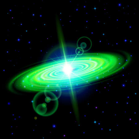astro: Space background. Green galaxy with bright flare among stars in dark universe