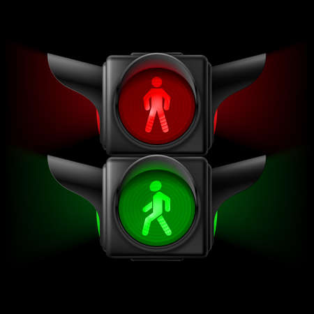 Realistic pedestrian traffic lights with red and green lamps on. Illustration on black background Vector
