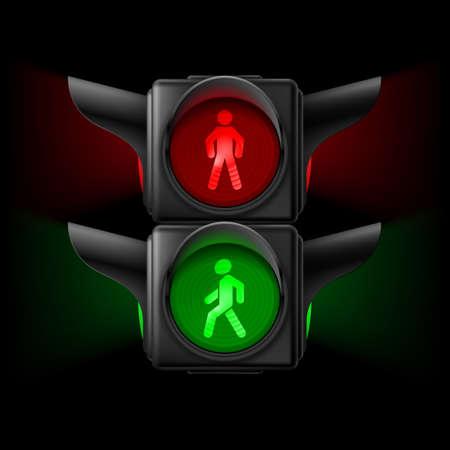 semaforo peatonal: Semáforos peatonales realistas con las luces rojas y verdes sobre. Ilustración sobre fondo negro Vectores