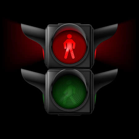 Realistic pedestrian traffic lights off. Illustration on black background Vector