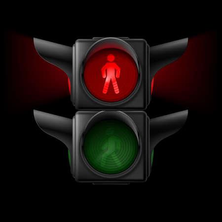 semaforo peatonal: Tráfico peatonal realista luces apagadas. Ilustración sobre fondo negro