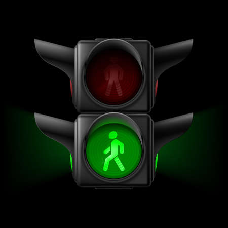 semaphore: Realistic pedestrian traffic lights with green lamp on. Illustration on black background