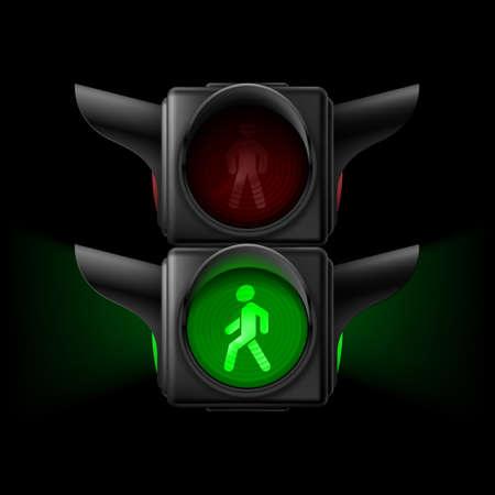 semaforo peatonal: Tráfico peatonal realista ilumina con luz verde en. Ilustración sobre fondo negro
