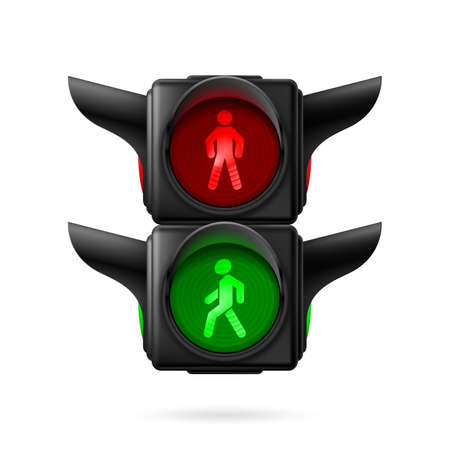 Realistic pedestrian traffic lights with red and green lamps on. Illustration on white background Vector